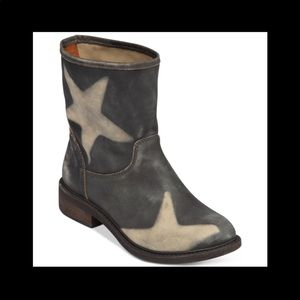 Lucky Brand Nitroh Star Booties Leather Black new!